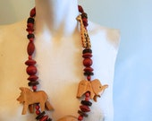 vintage.  Chunky Wood Statement Necklace With Safari Animals // Safari Necklace