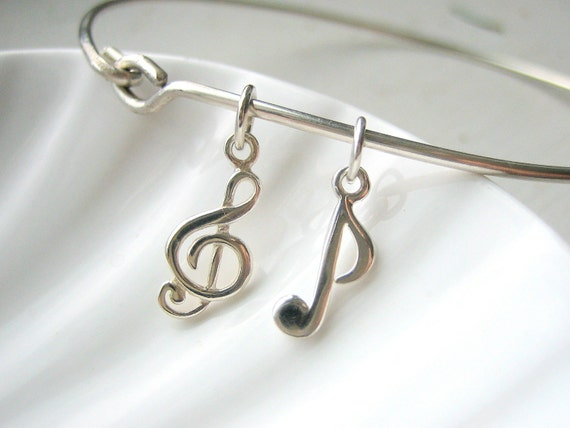 Treble Clef & Music Note Bangle Bracelet - Hand Stamped Charm - Sterling - Custom Personalized