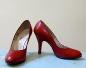 RESERVED 1940s Baby Doll Shoes Cherry Red Pin Up Pumps Round Toes High Heels Curvaceous Glam Girly Hard to Find