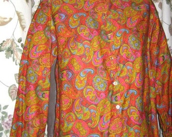 Vintage 50s 60s Bright Paisley Print Blouse