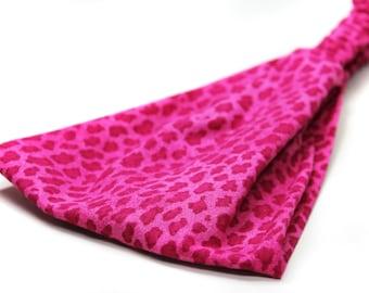 Hot Pink Animal Print Headband Bright Pink Leopard Print Headwrap Wide Head Wrap (#4218) S M L X