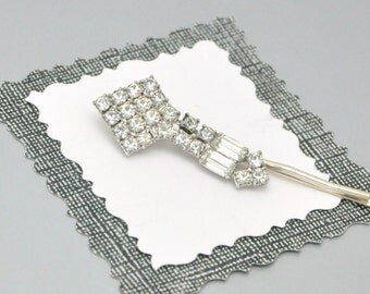 Art Deco Crystal Rhinestone Bobby Pin Upcycled Vintage Hair Accessory