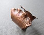 Ginkgo Ring Adjustable Hammered Copper
