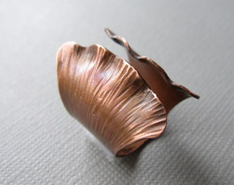 Ginkgo Ring Adjustable Hammered Copper