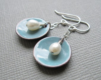 Enamel Dusk Blue Earrings White Pearl Sterling Silver