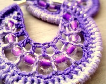 Crocheted hoops with beads in Purple