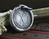 Wax Seal Charm Necklace, We Part To Meet Again, For a Friend Moving, Sterling Silver Handmade