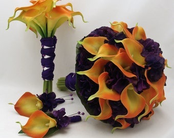 Silk Flower Wedding Package Bridal Bouquet Maid of Honor Real Touch Calla Lily Hydrangea in Orange and Purple - Customize for your Colors