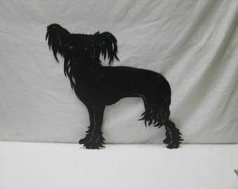 Chinese Crested 004 Metal Yard Art Dog Silhouette