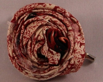 Rosette Fabric Flower Pin