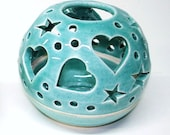 Robin's Egg Blue ceramic Night light THE ORIGINAL Heart Candileria Luminary / Handmade Ceramics - blueroompottery