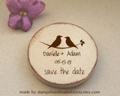 Wood Save the date Wedding Favors Wood Magnets birds love- favors or save the date 50 magnets