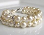 Pearl Bracelet, Ivory Pearl Bracelet, Pearl Bridesmaid Bracelet, Multistrand Pearl Bracelet, Pearl Cuff, Pearl Wedding Jewelry, Sterling