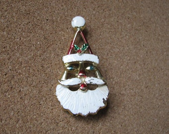 Vintage open enamel Christmas Santa brooch pin