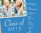 Class of 2016 High School/College Blue Damask Graduation Card - Print at Home or E-card