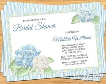 Hydrangea Bridal Shower Invitation - Many Colors Available - Printable