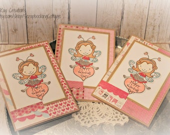 Sale-Set of 3  Happy Valentines Day  Cards Gift Set