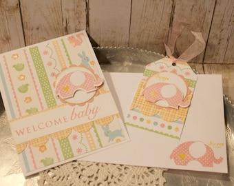 Baby Girl Card and Tag Set Handmade Gift Set