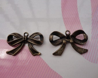 10pcs antique bronze bowknot findings 28mmx16mm