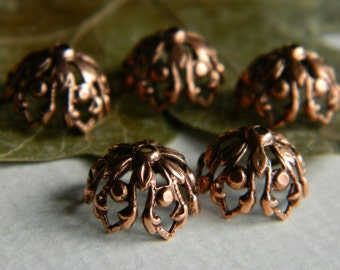 Brass  Filigree BEAD CAPS,  Antique Copper Plated Brass, USA Made, 12mm (6pcs)