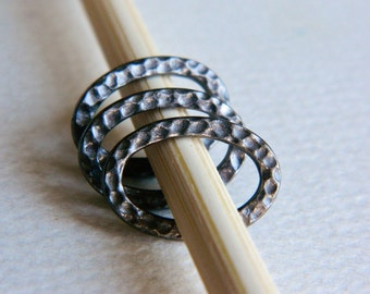 Pewter Hammered Oval Connectors, Textured Oval Links, Black Finished Pewter, USA made by Tierracast , 13x18mm (4pcs) NEW