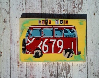 Funky VW Surf Bus Beach Ocean Road Trip Yellow Red Green Teen Toddler Car Custom License Plate Art Recycled States