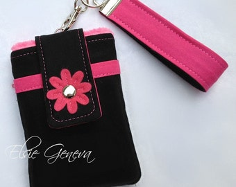 Black and Hot Pink Phone Case with Wristlet and Back Zipper Pocket with or without Felted Flower iPhone 4 5 6 Plus Note Large