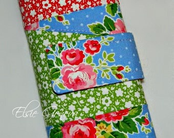 Vintage Blue Pink Red Green Roses Crochet Hook Organizer or Make Up Case with Zipper Pocket or Paisley and Roses Fabric Option