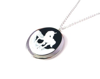 Unicorn Locket Necklace In Silver, Unicorn Cameo, Horse Black And White Cameo Pendant, Long Chain Necklace
