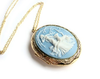 Goddess Diana Artemis Gold Cameo Locket Long Necklace, Blue Cameo Locket, Huntress, SALE
