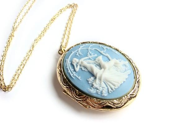 Goddess Diana Artemis Gold Cameo Locket Long Necklace, Blue Cameo Locket, Huntress, Cameo Pendant, On Sale