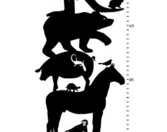 Animal Growth Chart Ruler Wall Vinyl Decal