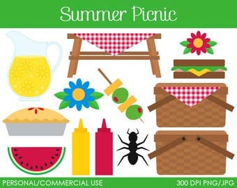 Summer Picnic Clipart - Digital Clip Art Graphics for Personal or Commercial Use