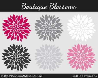 Boutique Blossoms Clipart - Digital Clip Art Graphics for Personal or Commercial Use