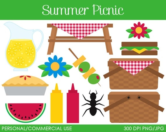 Summer Picnic Clipart Digital Clip Art Graphics by ...