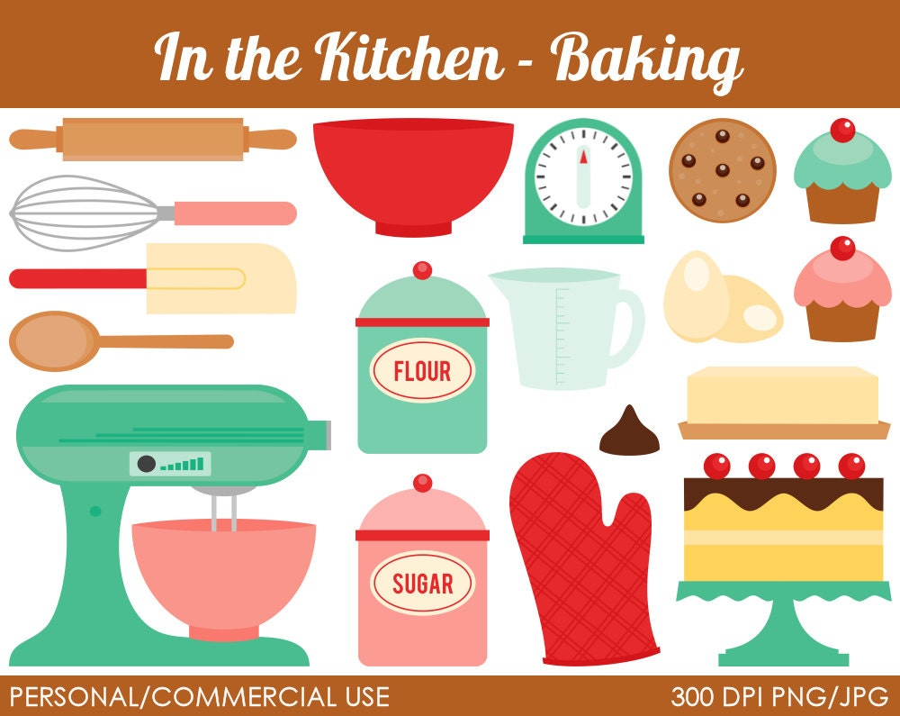 Kitchen Baking Clipart Digital Clip Art by MareeTruelove on Etsy: https://www.etsy.com/listing/123549076/kitchen-baking-clipart...