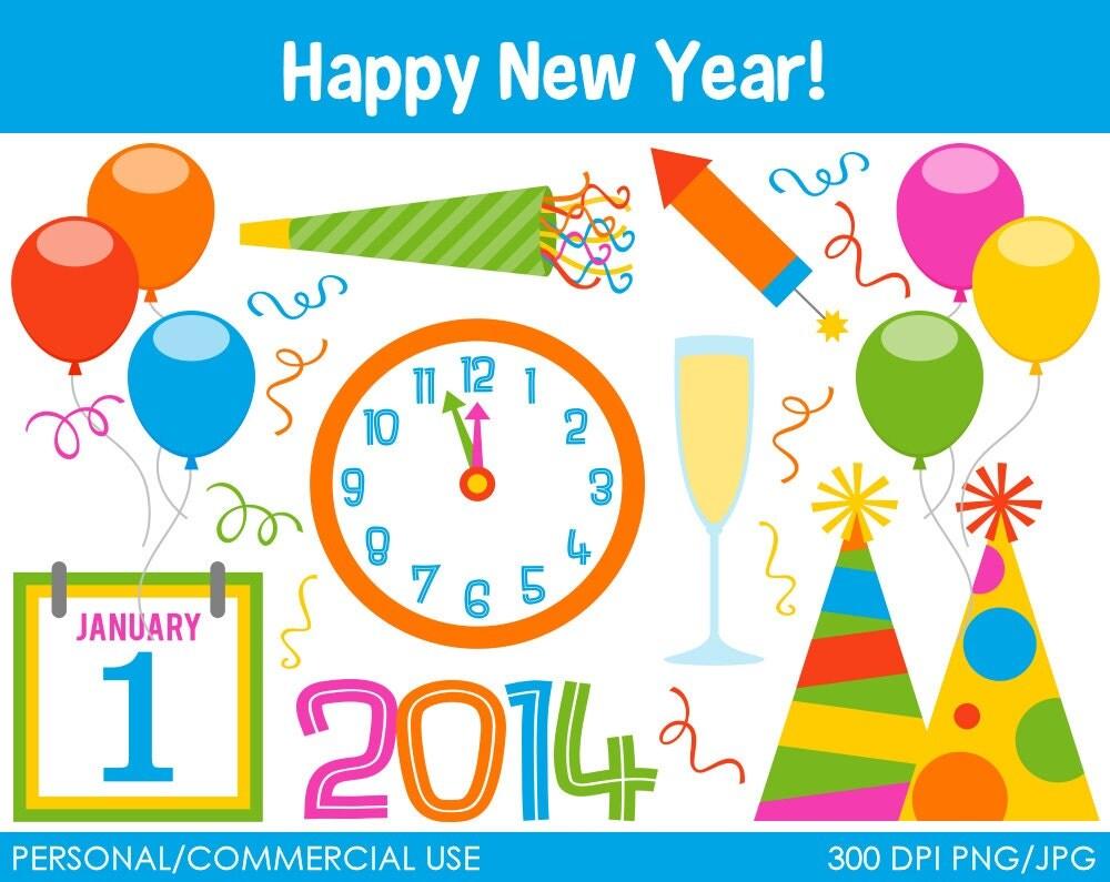 Happy New Year Celebration Clipart Digital Clip by MareeTruelove