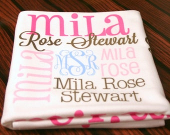 Personalized baby blanket monogrammed baby blanket name personalized baby blanket monogrammed baby blanket name blanket swaddle receiving blanket baby shower gift photo prop negle Image collections