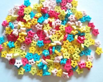 100pcs Star Tiny Buttons 2 Holes - Size 6 mm