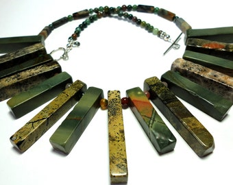 Picasso Jasper Necklace Cleopatra Collar Necklace Earthy RusticTribal Necklace with Sterling