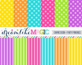 Bright Stripes and Dots- Digital Paper Pack for Personal or Commercial Use