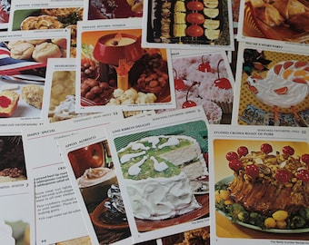 Vintage Recipes Cards paper ephemera Cardstock recipes pictures for your paper crafts Desserts Drinks Parties Cakes Candies Dinners 21 pcs