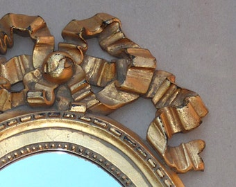 Italian Rococo Styled Gold Ribboned Mirror . . . SYROCO . . . One-of-kind . . .