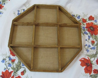 "Vintage Wood Octagon Shelf w/ Burlap Background 17"" or Table Display Tray"