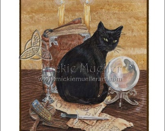 Art of Magic Black Cat from The Hidden Path Deck, Open Edition Print