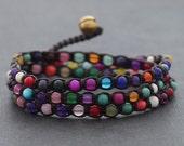 Candy Stone Triple Wrap Bracelet Anklet