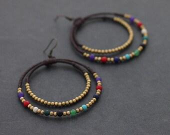 Candy Pop Chandelier Circle Brass Earrings