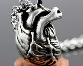 On Sale Little Silver Anatomical Heart Necklace made in NYC