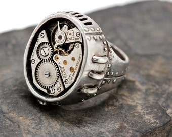 Steampunk ring Watch Part Ring  in white bronze