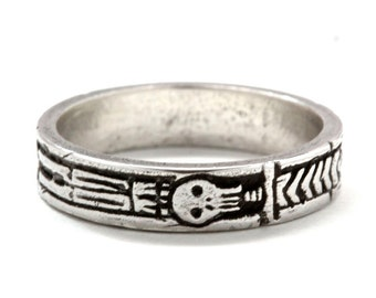 Georgian Skeleton Ring  .925 Silver  Memento Mori Jewelry Blue Bayer Design NYC